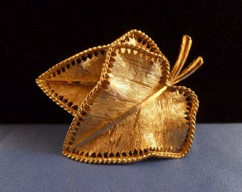 Vintage Gold BSK Leaf Brooch