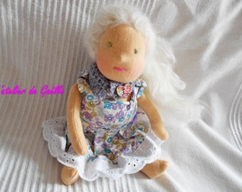 Doll Waldorf 25 cm, 100% eco-friendly, natural, cloth doll, steiner doll, doll organic fibers, natural.