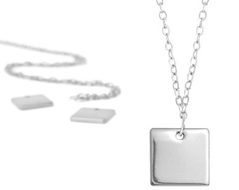 Made to order - Customizable - Square Pendant - Personalized Jewelry - Hand Stamped - Custom Necklace - Create Your Own - Gift