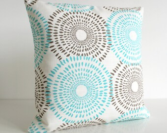 Aqua Pillow Cover, 16x16 Cushion Cover, Pillow Sham - Sunburst Aqua