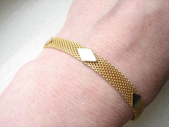 Vintage gold tone mesh bracelet flat gold mesh flat gold