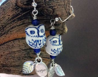 Whimsical ceramic owls in a Delftware-look, imagine, believe, feathers, glass beads, earrings, pierced, assemblage, repurposed, upcycled