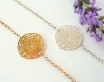 Sterling Silver Rosette Bracelet, Dainty Bracelet, Simple 24K Gold Vermeil Bracelet, Thin Chain Bracelet, 925 Sterling Silver Jewelry