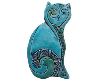 Decorative cat // Garden decor // Garden art // Ceramic tiles // Outdoor Wall Art // Yard art // left-plain // 26cm // Turquoise