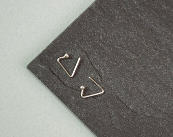 Minimalist earrings, triangle earrings, triangle silver earrings, geometric earrings, silver earrings, hoop earrings, small earrings