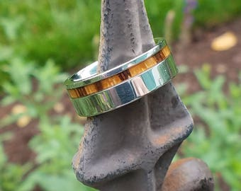 SEBRA Zebra Wood Inlay in Polished Cobalt Band with Beveled Edges | 8mm