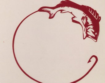 Fish and Hook Decal, Fish Decal, Hook Decal, Cup Decal, Yeti Cup Decal, Car Decal, Laptop Decal