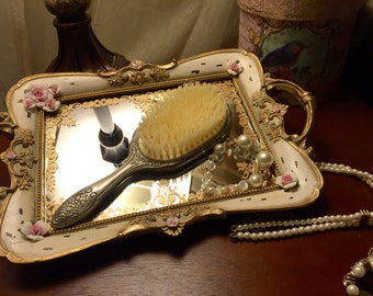Beautiful Antique ROSE Vanity Tray