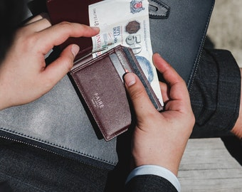 SPECTER Bifold with Money Clip Mens Leather Wallet   Vegetable Tan / Cross Grain Leather   Slim Leather Wallet