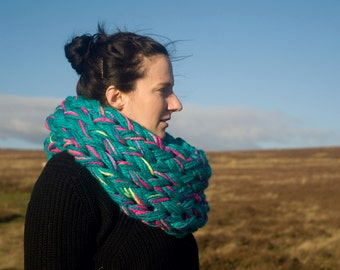 turquoise blue pink yellow infinity scarf, loop scarf, oversized scarf, snood, chunky knit wool
