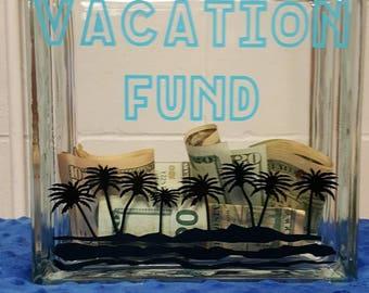 Vacation Fund Glass Block Bank