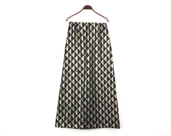 "70s Vintage Black Maxi SKIRT - Silver Gold Sparkle Long Full Length Skirt Evening Skirt - Size UK 10 12 High Waist 28"" - a RIDELLA Model"