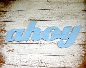 Ahoy beach decor nautical word wood sign cottage coastal distressed shabby chic