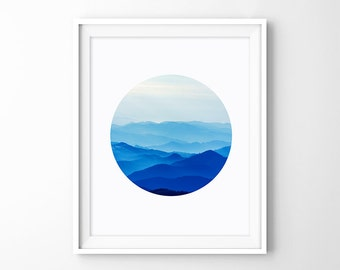 Mountains in the Morning - Misty Mountain Photography, Blue Fog Mountains, Circle Art Poster, Landscape Prints, Instant Download Digital