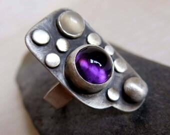 Amethyst Ring, Artisan Gemstone Ring, Purple Gemstone Jewelry, Moonstone Amethyst Sterling Silver Ring, Modernist Sterling Ring