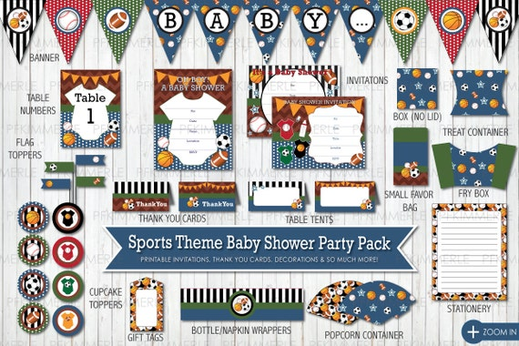 Sports themed baby shower all star printable party pack for Baby shower decoration packs