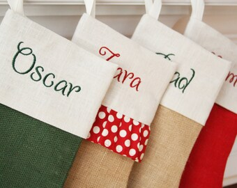 Custom Christmas Stocking - One Burlap Christmas Stocking - Pick your style - Free monogramming