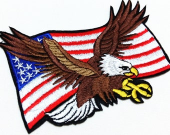 Rock Patch USA Flag Eagle (12.5 x 9.5 cm) Full Embroidered Applique Iron on Patch (TN)