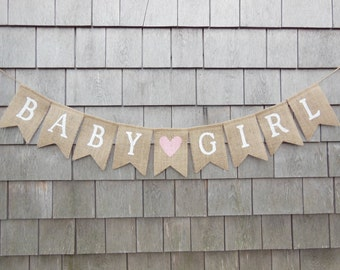 Baby Girl Burlap Banner, Baby Girl Bunting, Baby Girl Garland, Baby Shower Decor, Baby Girl Nursery Decor, Baby Shower Banner, Gender Reveal