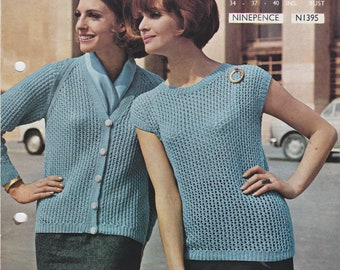 Ladies Cardigan Jumper sleeveless PDF knitting pattern 1960s Double Knitting