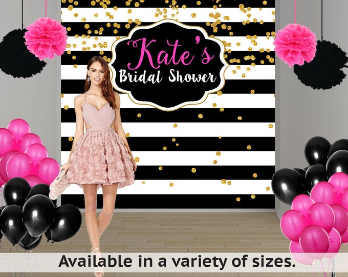 Featured listing image: Bridal Shower Personalized Photo Backdrop -Black and White Photo Backdrop- Milestone Birthday Photo Backdrop - Custom Photo Booth Backdrop