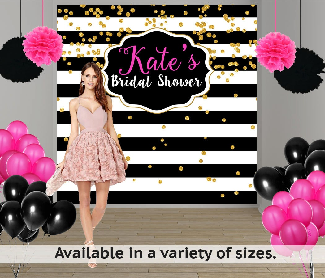 Bridal Shower Personalized Photo Backdrop Black And White