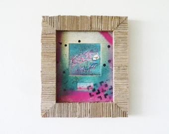 Upcycled Graffiti Wall Art - Original Mixed Media Painting - Cardboard Frame  - Fuchsia Jade Teal Green