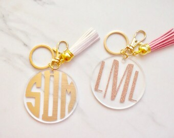 "Monogram Keychain w/ Tassel Key Chain - 2.5"" Round 