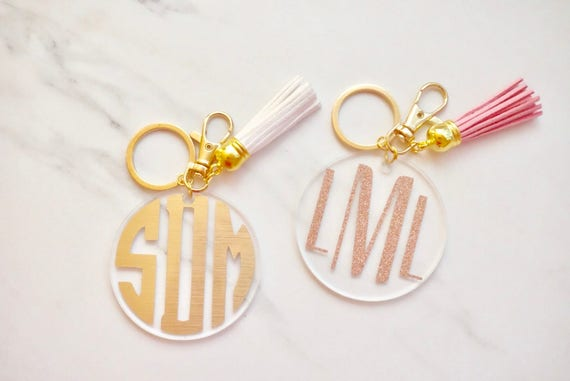 "Monogram Keychain W/ Tassel Key Chain   2.5"" Round | Bridesmaid Proposal Gift Box | Keychain Gift | Personalized Keychain Tassel | Gold Key by Etsy"