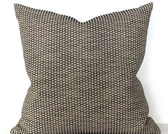 Black Beige Pillow Cover Diamond Geometric Upholstery Fabric Decorative Pillow Neutral Throw Pillow Cover 20x20 18x18 16x16