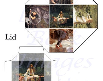 John William Waterhouse Paintings Printables, PARTY FAVOR BOX and Lid Template,  2 Inch Cube (50mm)