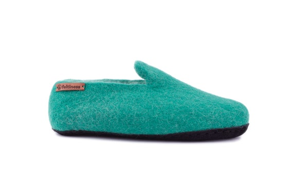 Feltiness Felt handmade 100 Wool Slippers leather sole with w0IxqZrg0