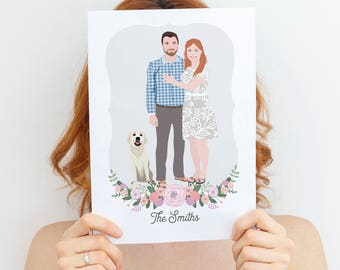 Custom couple portrait Wedding gift, couple illustration, personalized portrait illustration, couple drawing, fun wedding gift Portrait gift