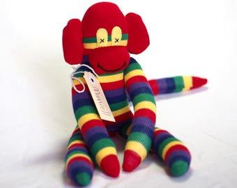 Sock monkey, sock animal, soft plush toy monkey. Maxwell Monkey.