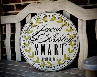 """Personalized family name sign with established date for wedding, anniversary or home decor with laurel wreath design: 18"""" Round"""