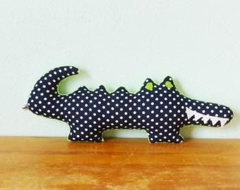 Alligator pillow, alligator nursery decor, boy nursery, crocodile plush, navy and lime