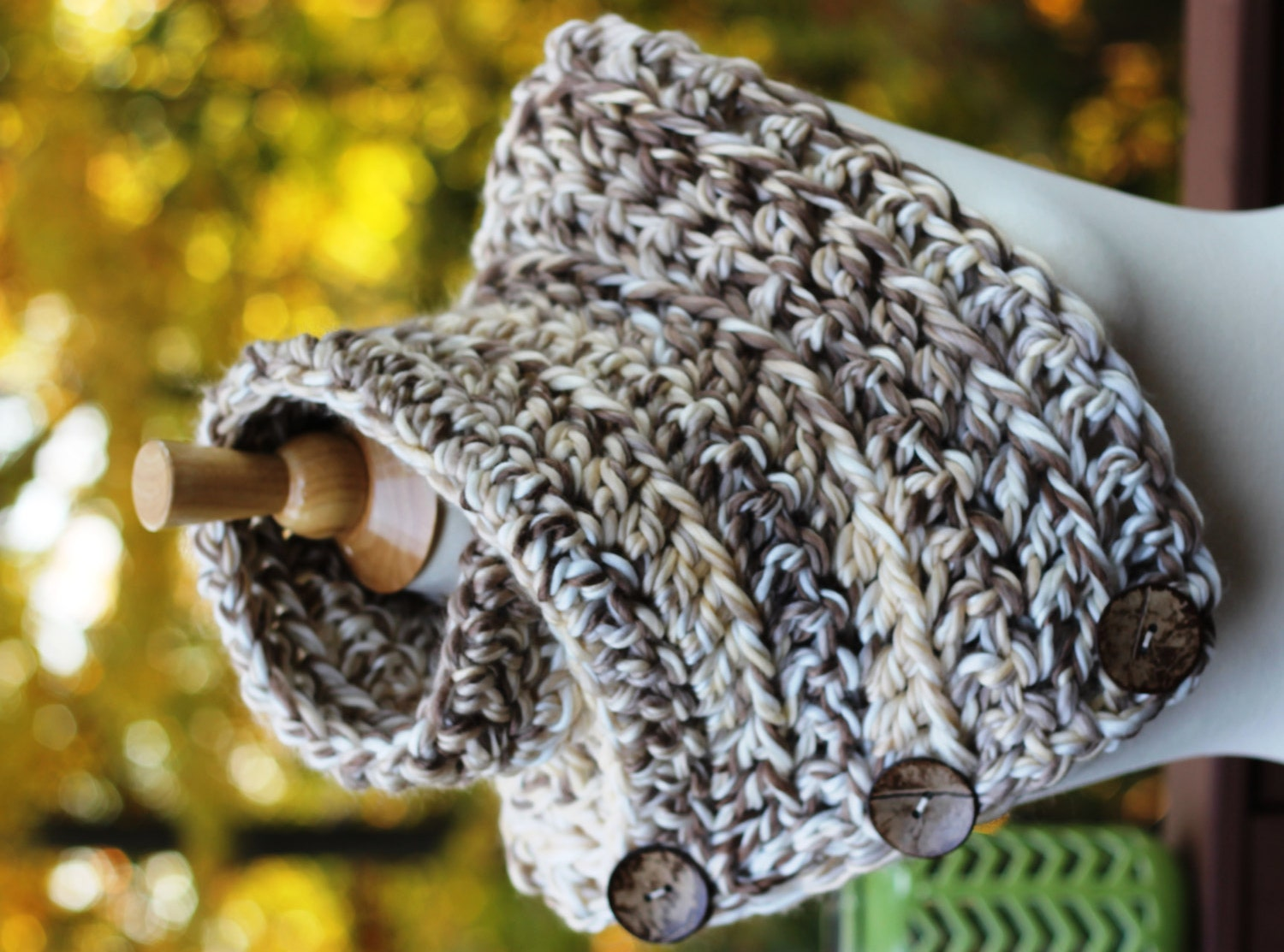 Chunky Boston Harbor Scarf Shawl Cowl in \'Caramel Ice