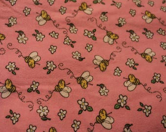 6 Charming vintage bumble bee flannel. So cute for quilts, nightgowns and PJS