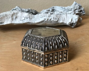 Vintage Silver Jewelry Box with Hinged Lid