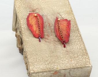 Crimson Autum Leaves Leather Earrings