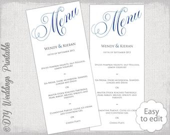 "Wedding menu template Horizon blue wedding menu DIY wedding menu template ""Parfumerie"" digital printable menu YOU EDIT Word instant download"