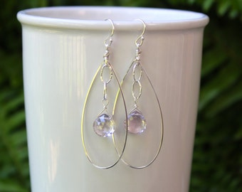Sterling Silver Hoops with Pink Amethyst Inside, Teardrop Silver Hoops, Lightweight Hoops, Gemstone Hoops, Free Shipping
