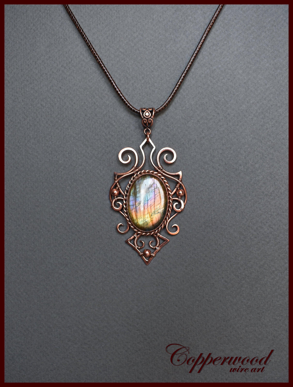 Copper Wire wrapped pendant Rainbow Labradorite necklace