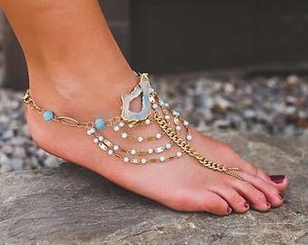 Bohemian Agate Toe ring bracelet