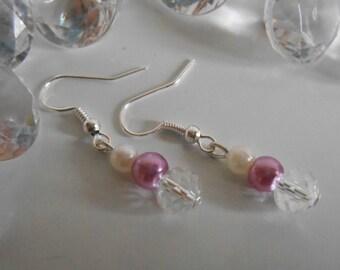 Rhinestone wedding earrings purple and white pearls