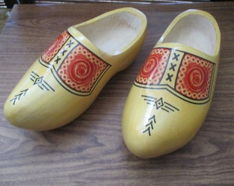 Dutch Holland Solid Wooden Clogs Girls Shoe Size 12-13