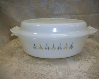 Anchor Hocking Fire King Candleglow Casserole With Lid Ovenproof 433 1 and 1/2 Quart