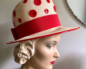 Vintage 1960's Woven Red Polka Dot Cloche Hat with Bow