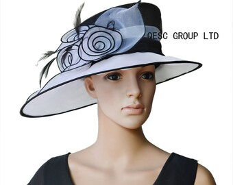 White black Ladies Hat organza hat.