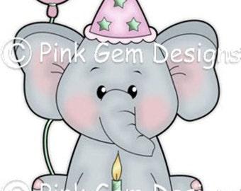 Digi Stamp  'Birthday Ella' - Birthday, Elephant, Party Invitations etc
